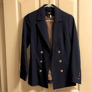 Navy blue double breasted blazer with gold details